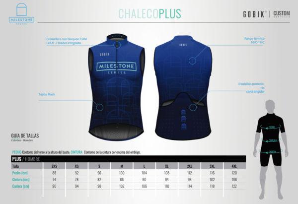 guia de tallas Chaleco Milestone Series V1